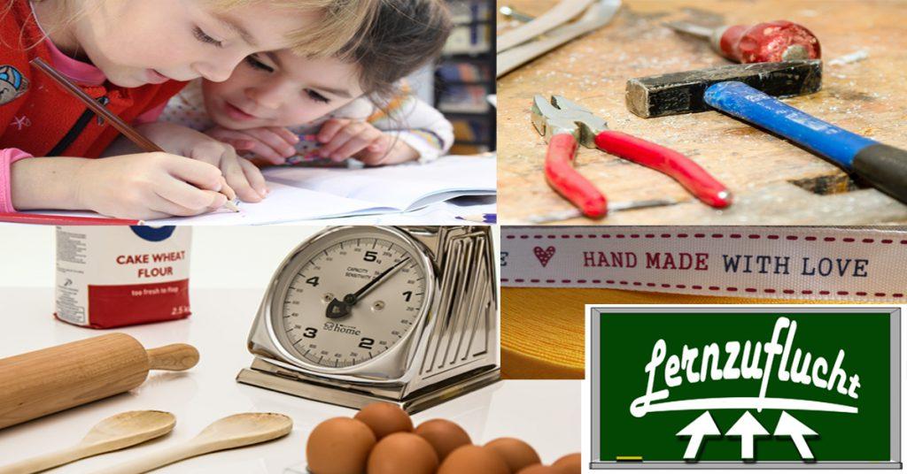 Kinder, Handwerkszeug, Logo der Lernzuflucht Hagen Nachhilfe, jetzt bewerben!
