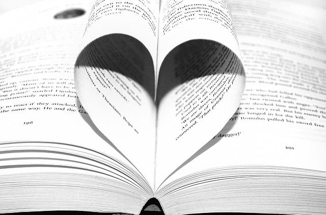 Buch mit Seiten zum Herz gerollt