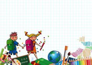 Comichefte mit Schülern und Globus