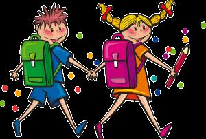 Comickinder auf dem Schulweg.