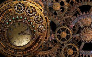Uhr mit Räderwerk aus Gold
