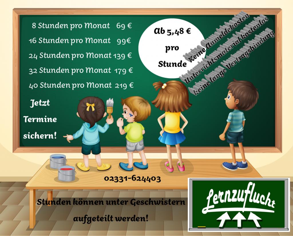 Preisliste, Kinder vor Tafel, Logo der Lernzuflucht