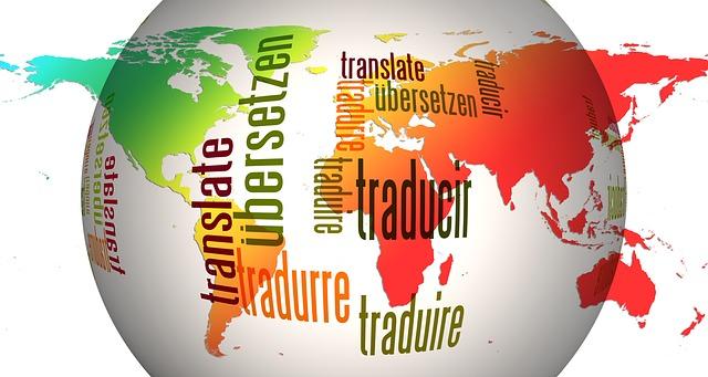 Globus mit Worten zur Übersetzung, Sprachkurse