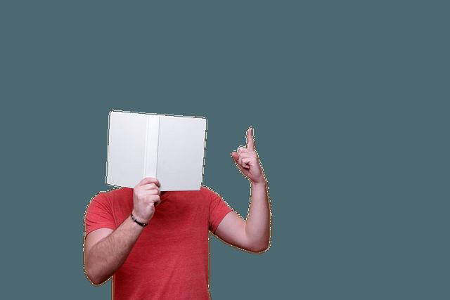 Nachhilfe geben Hagen; Buch vor Gesicht; erhobener Zeigefinger