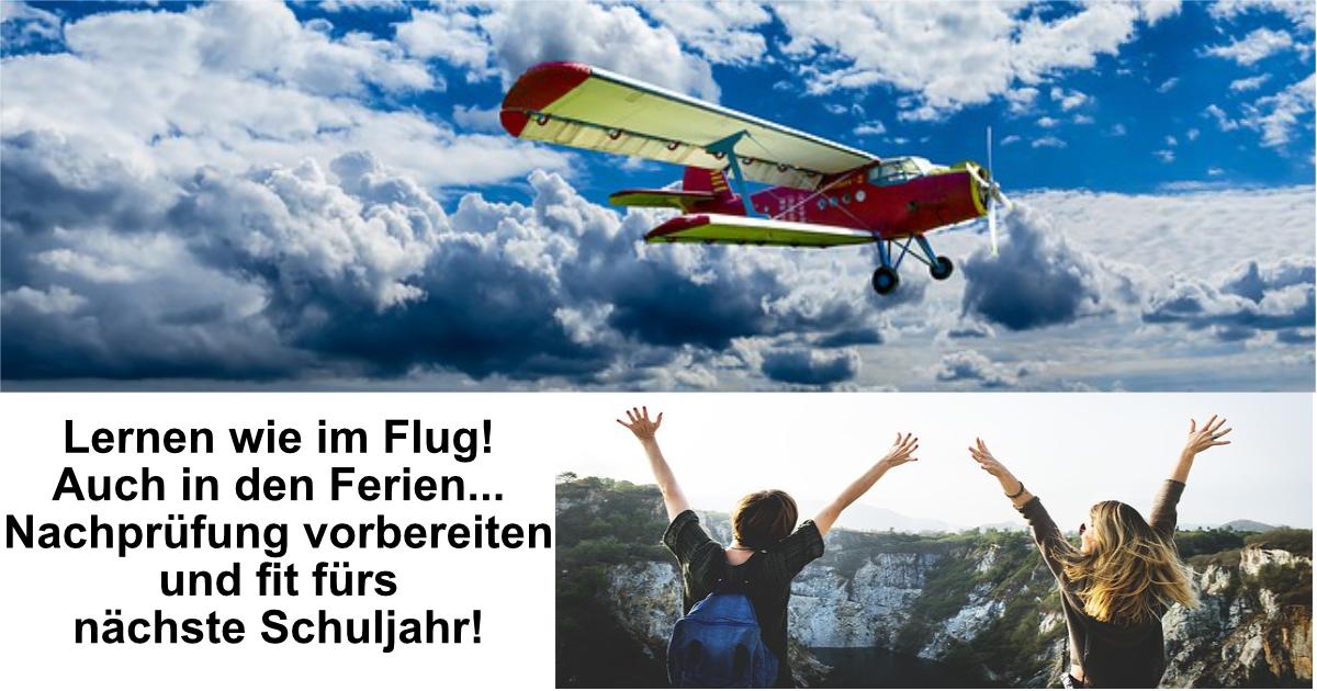 Flugzeug fliegt von links nach rechts an weiß-blauen Himmel. Schüler jubeln. Lernen wie im Flug!