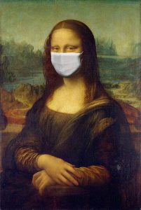 Corona Virus Nachhilfe Mona Lisa mit Mundschutz
